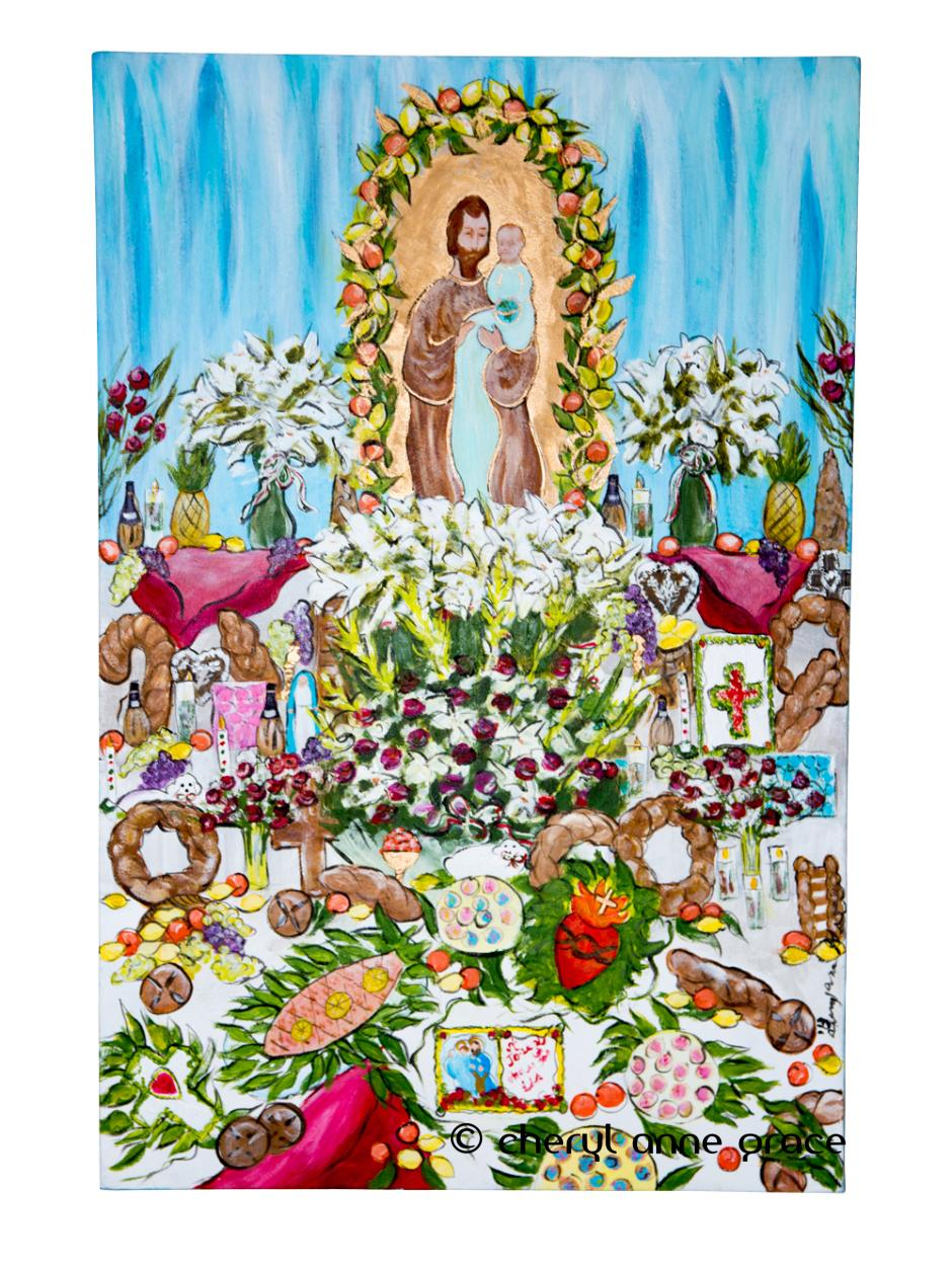 St Joseph Altar #1 18x24. SOLD. Part of an Altar Series