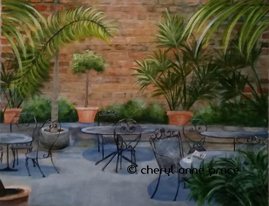 Cafe au Lait 14x18. One of the prettiest courtyards in the Quarter. Cafe au Lait at Napoleon House Courtyard 14x18 SOLD