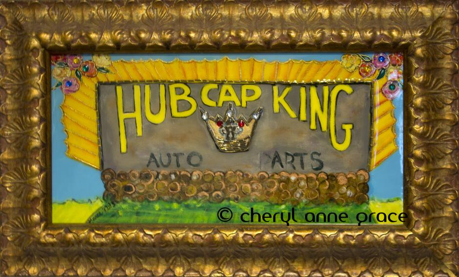 "Hub Cap King 12x20. Broad at I-10-- I used to pass this billboard on my way to work everyday. I love the way the ""P"" is missing from Auto (P)arts! It really is, so perfect! I have totally pimped out the sign. $425 on www.whereyart.com"