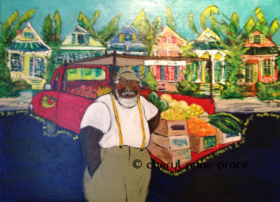 Mr. Okra 18x24 New Orleans icon, he sings his wares on his loud speaker and you can always find him at JazzFest. I went to his birthday party one year; it was a blast, great music and a rocking good time. SOLD