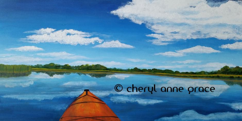 Perfect Day Lake Borgne 12x24 SOLD to the permanent collection of the new LSU Health Sciences Center