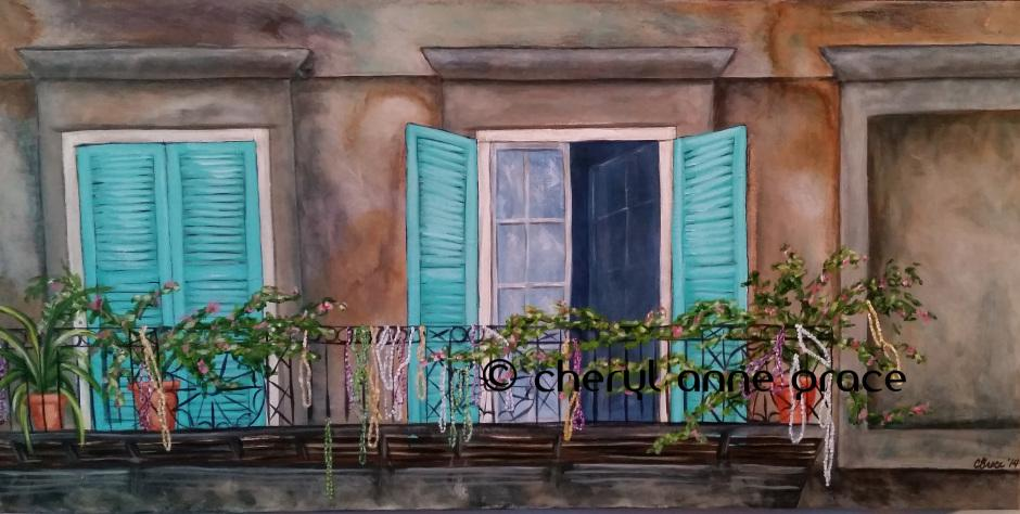 Royal at St. Peter 15x30. This is one of my favorite buildings in the Quarter, you have to look up since it is a retail shop on the ground floor. The aged patina of the stucco is like looking back hundreds of years. If walls could talk, what it has seen! SOLD