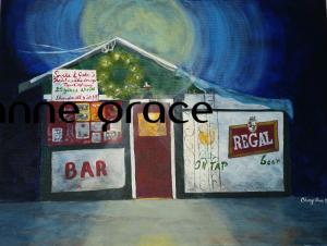 Snake and Jake's Christmas Club Lounge, Oak Street 12x16, acrylic on deep canvas. The place of wasted youth! #2 in a series of iconic New Orleans bars. SOLD