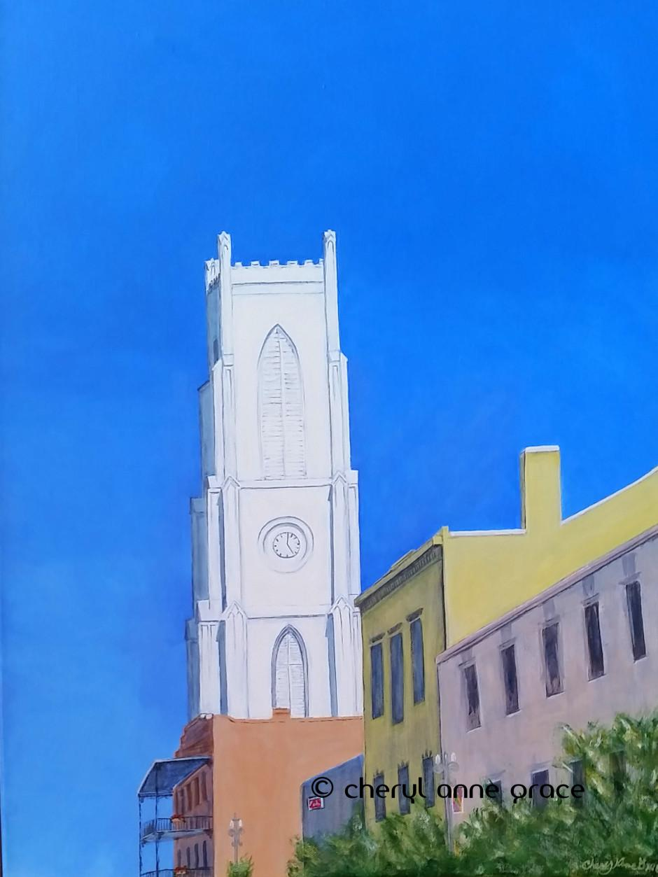 Nothin' But Blue Skies series--St. Patrick's on a clear day with no humidity is especially spectacular! I happened to be there for it this particular day. Had to paint it. Featured in a Zatarain's commercial! $750 at Ariodante Gallery Julia Street
