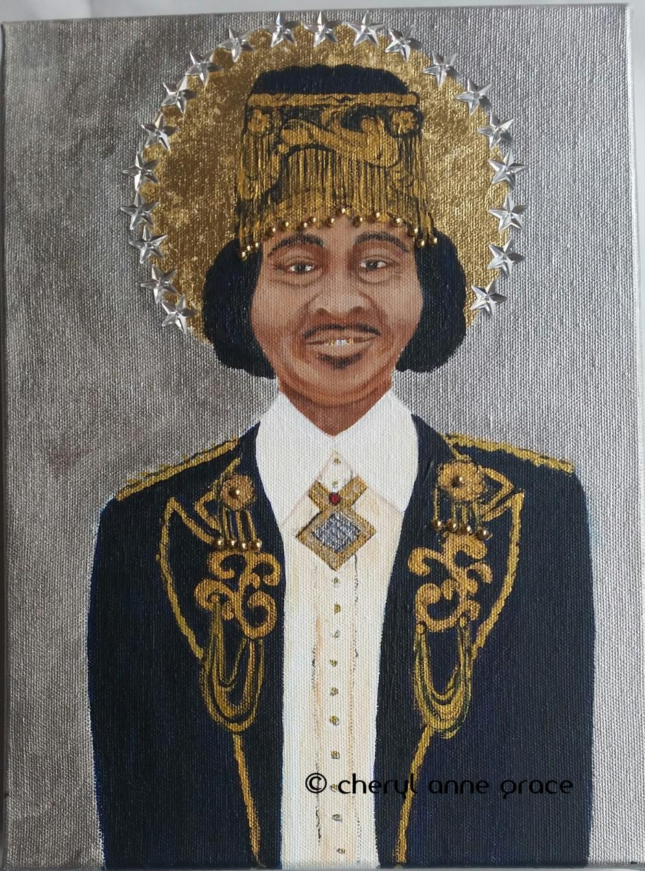 Part of a series of great New Orleans musicians who are no longer with us. All of this series are done in an iconic Byzantine style. SOLD