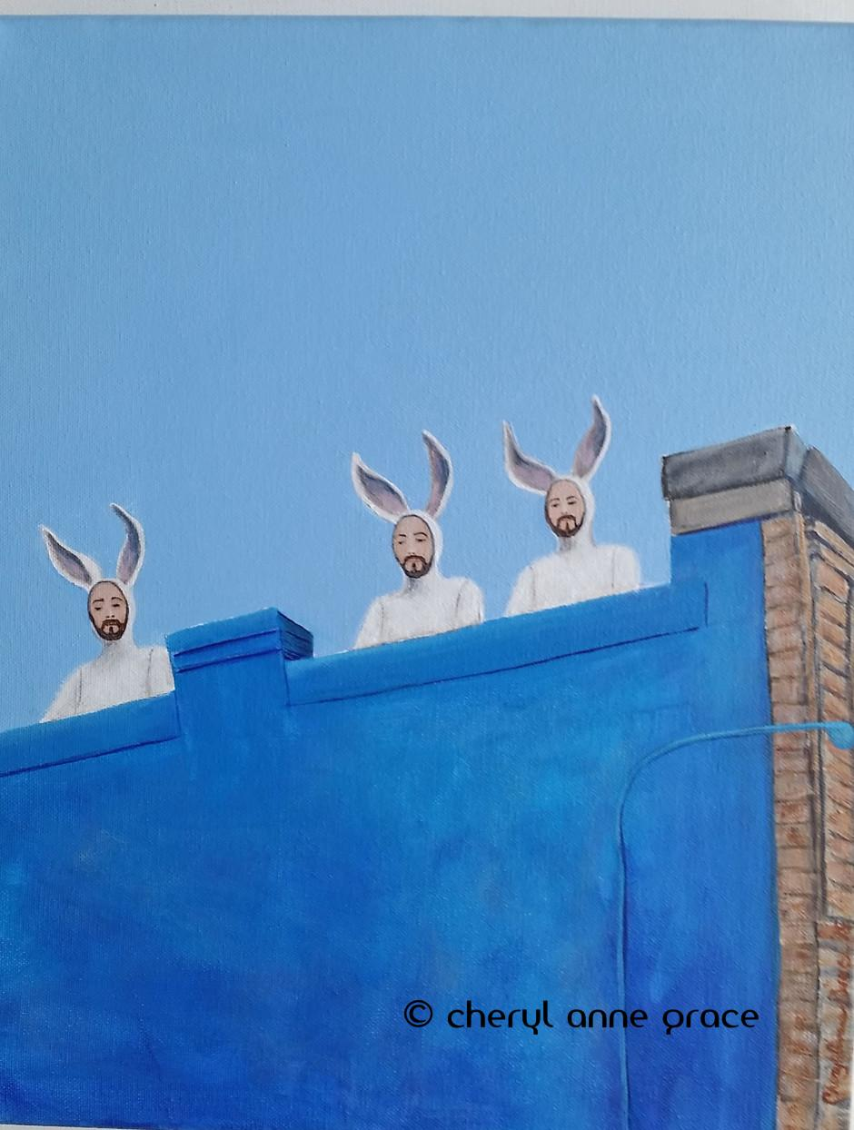 Nothin' But Blue Skies series--Bunnymen sculptures by artist Alex Podesta are shown keeping a watchful eye on O.C. Haley Boulevard. As part of a rooftop series, I couldn't resist painting this! $465 SOLD