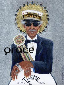 """Uncle Lionel Batiste is part of """"The Gospel According to New Orleans"""", my collection of iconic New Orleans musicians, commemorates their role in the evolution of the eccentric culture and music traditions of New Orleans. All depicted in this series are musical and cultural icons who make or live on through significant contributions to the uniqueness of what composes the spirit of New Orleans. SOLD but fine art limited edition prints available on Where Y'art"""