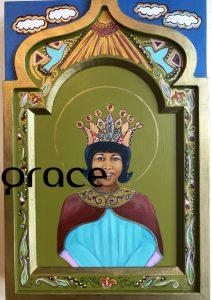 Aretha is indeed the Queen of Soul and shown here as her younger self in her RESPECT crown-only for her! She is surrounded by clouds with silver linings, blue birds of happiness, and the sun shining down on her. Custom birch panel assembly. 11X16 SOLD