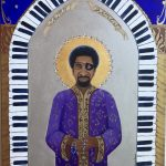 James Carroll Booker III, with Maple Leaf Rosary, piano cathedral, 18x24 crylic on deep canvas SOLD