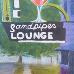 The Sandpiper Lounge 8x16. I've painted this a couple times and likely will paint it some more. I just love it, the color combination, the spectacular neon, everything. Part of a series of iconic New Orleans bars. SOLD